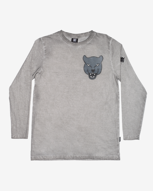 Grey Panther long sleeve tee - Grey vintage wash long sleeve boys tshirt with straight hem and grey panther head print on front left chest.