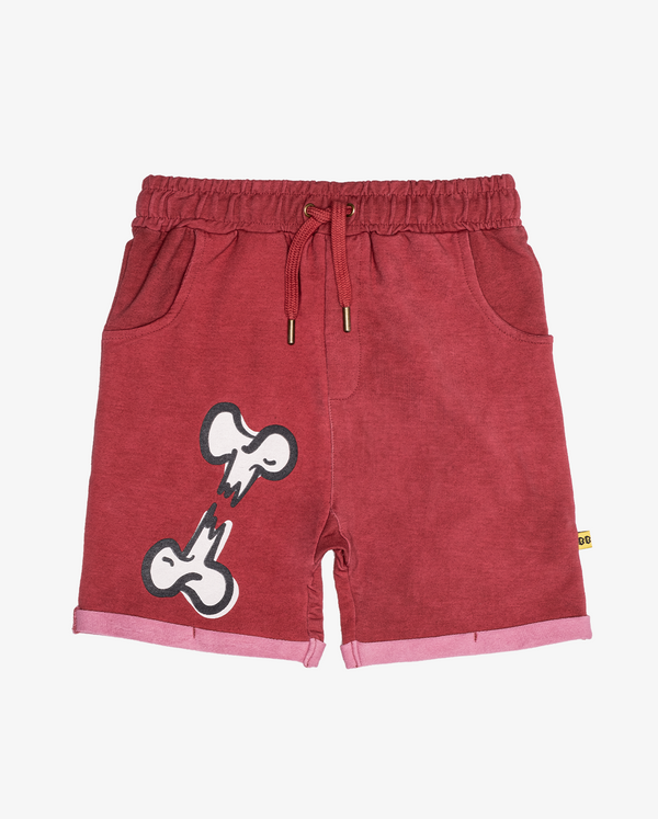 Broken bone relaxed shorts - CPD red boys shorts with white broken bone print on front right thigh, with front pockets and elasticated drawstring waist.