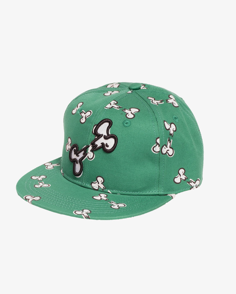 Broken bones hip hop cap - Green boys hip hop cap with small white broken bone print all over and large embroidered broken bone print on the front.
