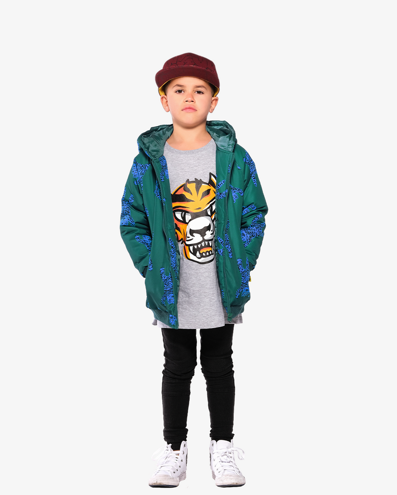 Marle Grey Band of Boys Eye of The Tiger Straight Hem Tee on model. Model also wears bubble logo cap, easy tiger rain bomber jacket and black Skinny Jeans.