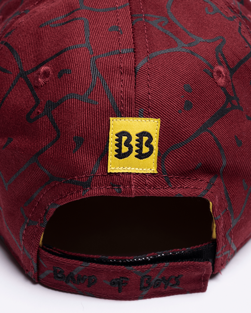 Maroon Band of Boys Bubble Logo Hip Hop Cap close up of snap back and logo