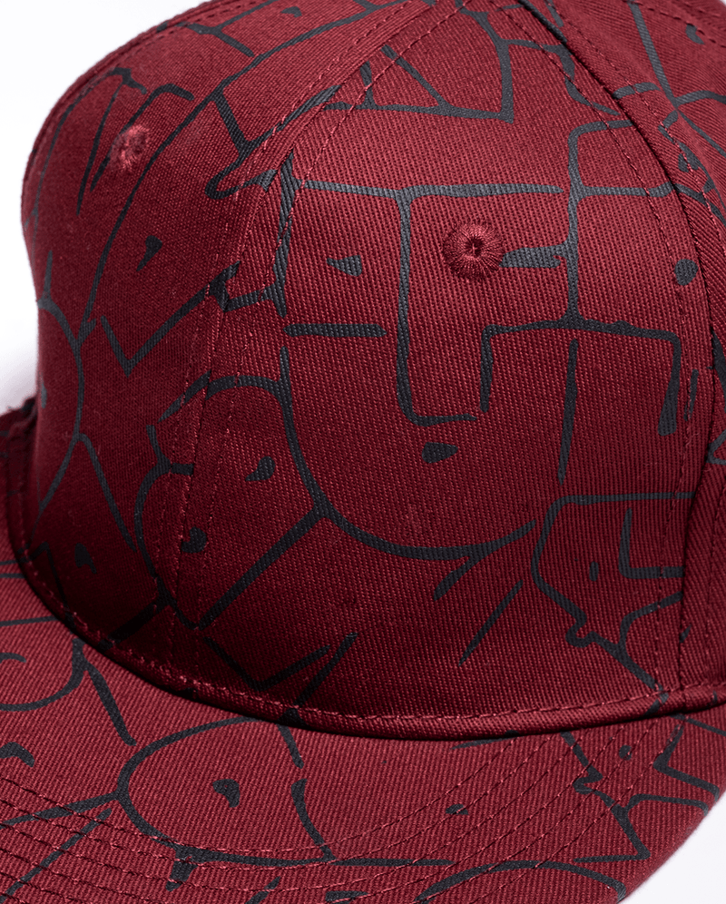 Maroon Band of Boys Bubble Logo Hip Hop Cap close up of design and high quality material/stitching