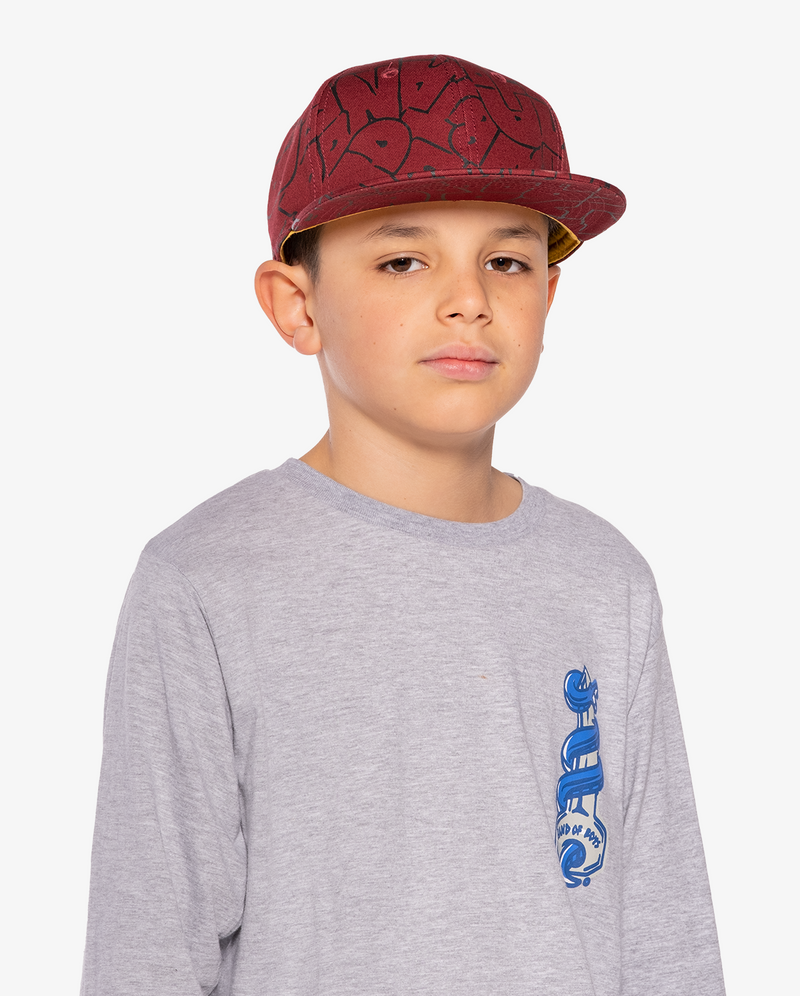 Maroon Band of Boys Bubble Logo Hip Hop Cap on model
