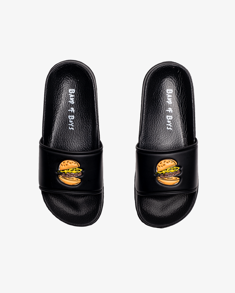The collectibles - Hamburger slides. Black slide on sandals with embossed single hamburger print.