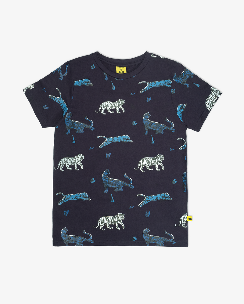 Cat party tee - Dark blue short sleeve boys tshirt with prints of blue and white tigers all over it.