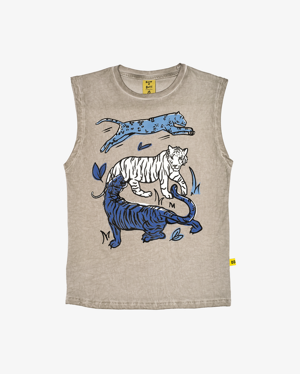 Cat party tank - CPD grey sleeveless boys tank with large print of a lightblue tiger, white tiger and dark blue tiger on the front.