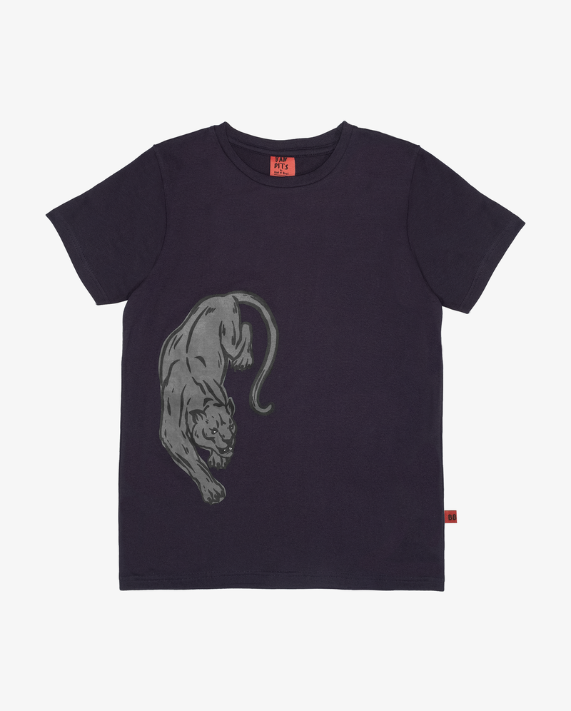 Bandits cats on cats tee - Dark blue short sleeve boys tshirt with grey panther print on front side.