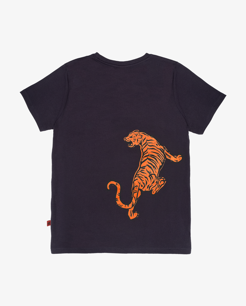 Bandits cats on cats tee - Dark blue boys short sleeve tshirt with orange print of a tiger on the back side.