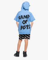 Logo short sleeve hood - Bright cornflower blue short sleeve hooded sweatshirt with large black 'band of boys' text logo on the back.