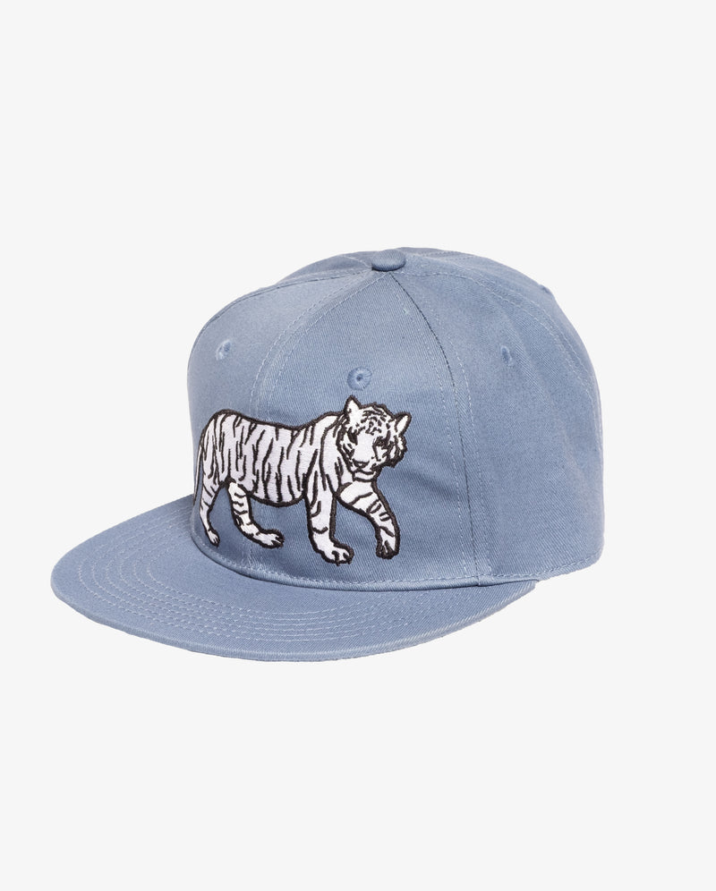 Cool cat hip hop cap - light blue boys hip hop cap with embroidered print of white tiger on the front.