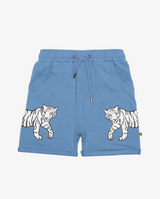 Cool cats relaxed shorts - Bright cornflower blue boys shorts with white tiger print on each side, front pockets and elasticated drawstring waist.