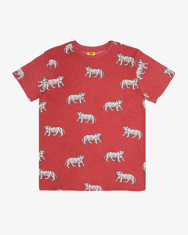 Cool cats repeat - CPD red short sleeve boys tshirt with white print of tigers all over.