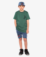 BANDITS by band of boys Vintage Lightning Tiger Relaxed Shorts on model, front on. Model also wears Crouching Tiger Short Sleeve Tee. and Lightning Tiger Cap.