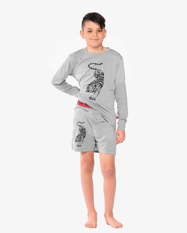 Bandits by Band of Boys Grey Winter PJs with Crouching Tiger on model focusing on shorts