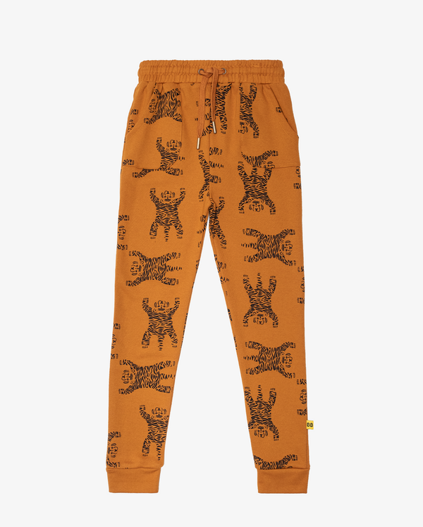 Ochre Easy Tiger Repeat Fleece Pocket Skinny Trackies with draw string
