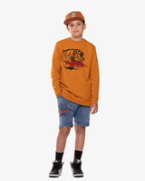 BANDITS by band of boys Vintage Lightning Tiger Relaxed Shorts on model, front on. Model also wears eye of the tiger Cap and Lightning Tiger Crew.