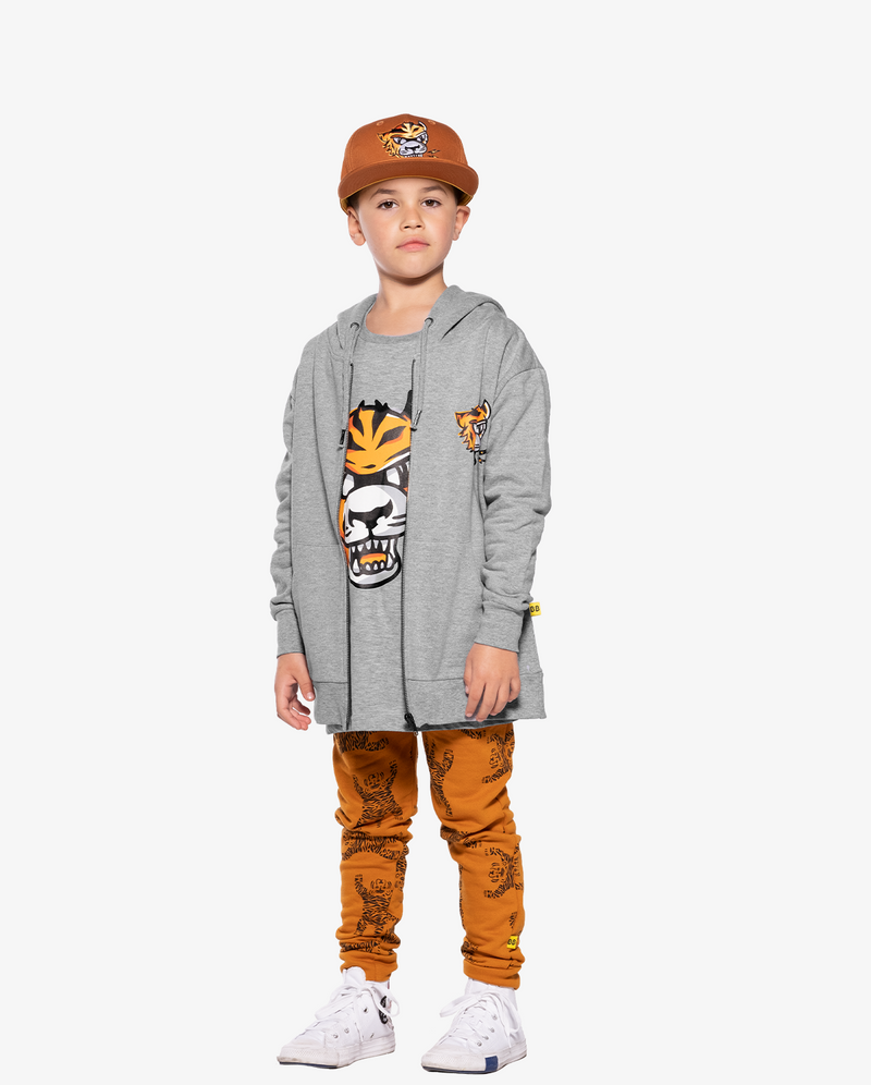 Marle Grey Band of Boys Eye of The Tiger Straight Hem Tee front view on model. Model also wears eye of the tiger cap and jacket
