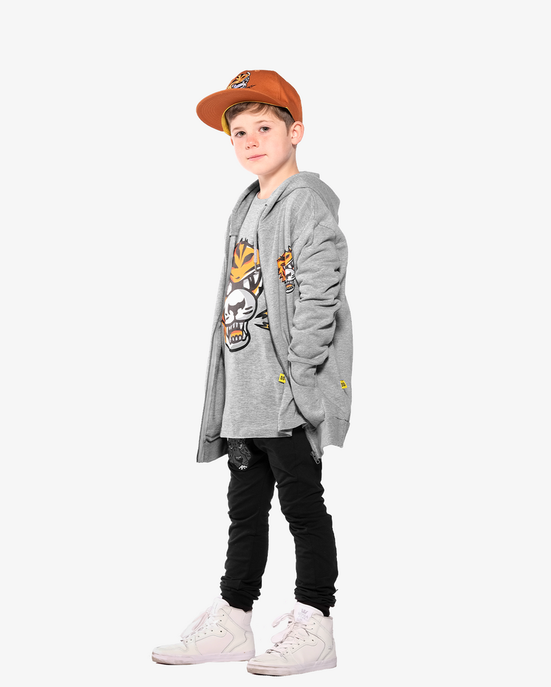Marle Grey Band of Boys Eye of The Tiger Straight Hem Tee side view to show fit. Model also wears Eye of the tiger Cap and Jacket.