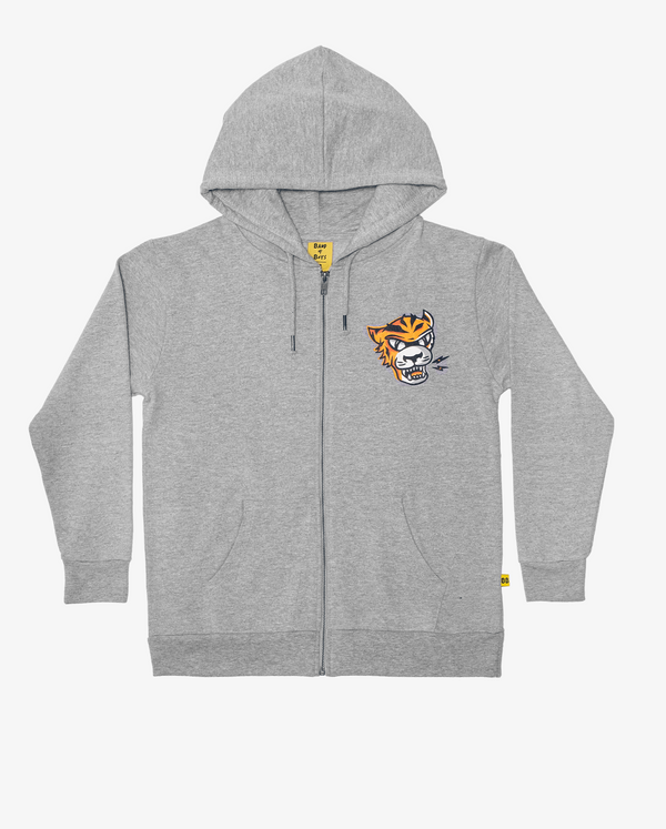 Grey Eye of The Tiger Fleece Classic Zip Hood Crew