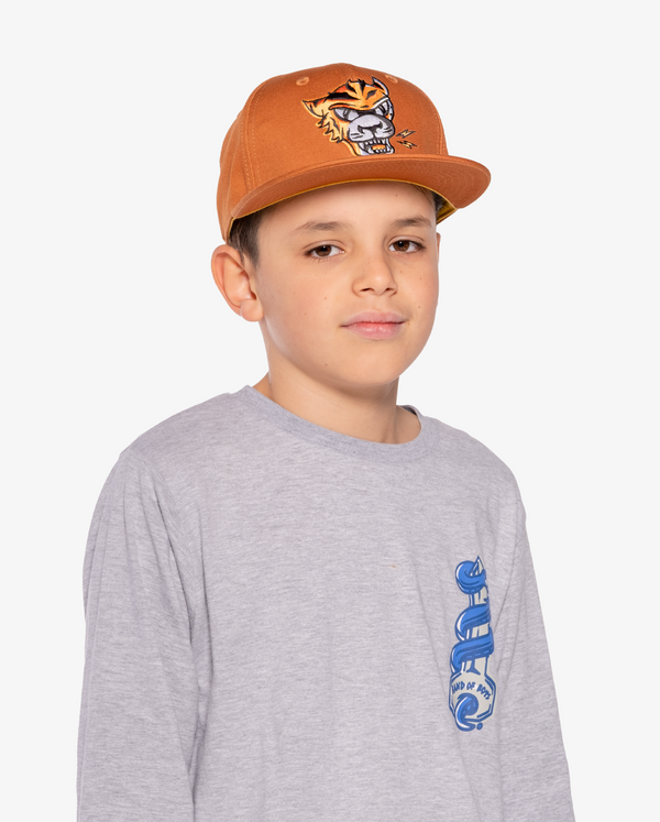 Ochre Band of Boys Eye of The Tiger Hip Hop Cap with velcro closure on model