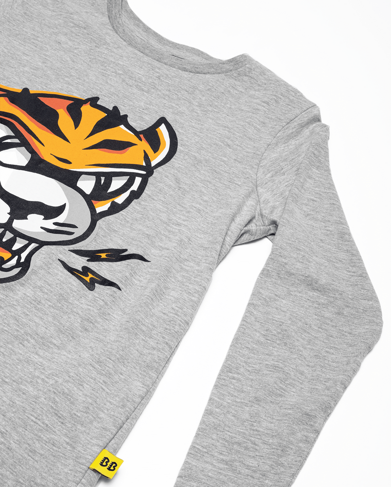 Marle Grey Band of Boys Eye of The Tiger Straight Hem Tee. View of the arm and Tiger design.