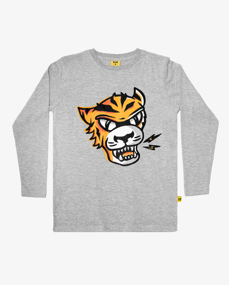 Marle Grey Band of Boys Eye of The Tiger Straight Hem Tee