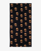The collectibles - Hamburger flat beach towel. Black velour look beach towel with repeating hamburger print.