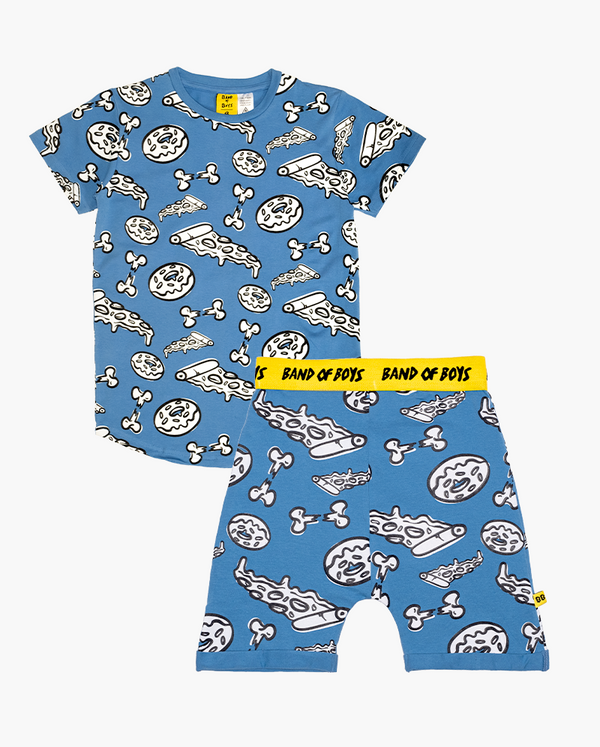 Food fight PJs - Bright cornflower blue short sleeve tshirt and shorts pyjama set with white pizza, donuts and broken bone print all over. Shorts feature a bright yellow elasticated waist band with black 'bandits' text.