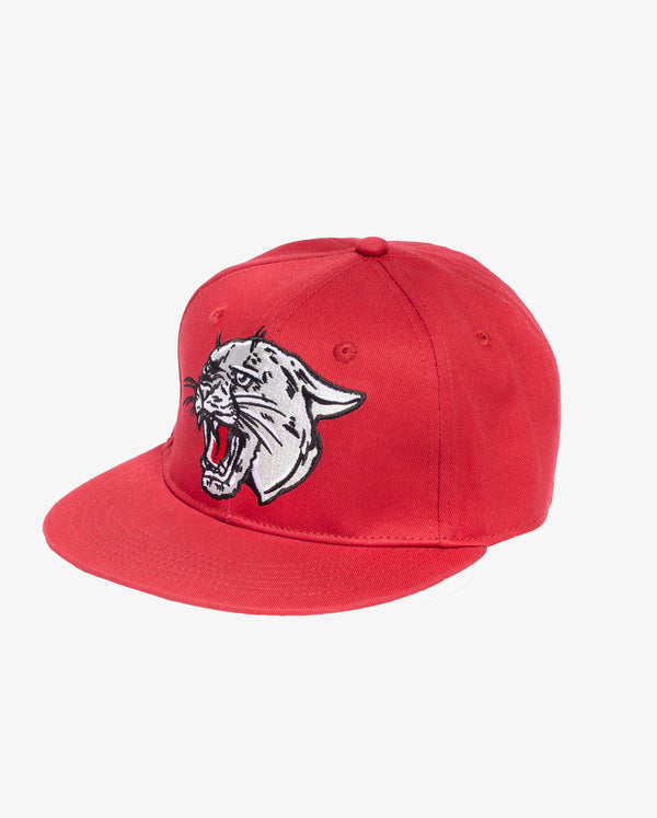 Hear me roar hip hop cap - Bright red boys hip hop cap with silver grey embroidered print of panther roaring on the front.