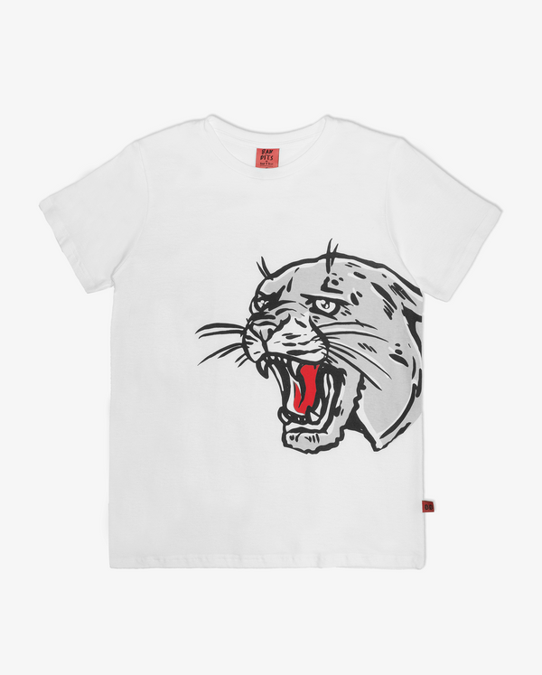 Bandits hear me roar tee - white short sleeve boys tshirt with large grey and red print of a roaring panther head on the front.