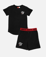 Bandits hear me roar pyjamas - black short sleeve tshirt and shorts pyjama set. Top has small roaring panther print on top left chest. Shorts have same small panther print on bottom right. Shorts feature red waist band with black 'bandits' text.