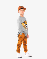 Marle Grey Band of Boys Eye of The Tiger Straight Hem Tee, side view on model