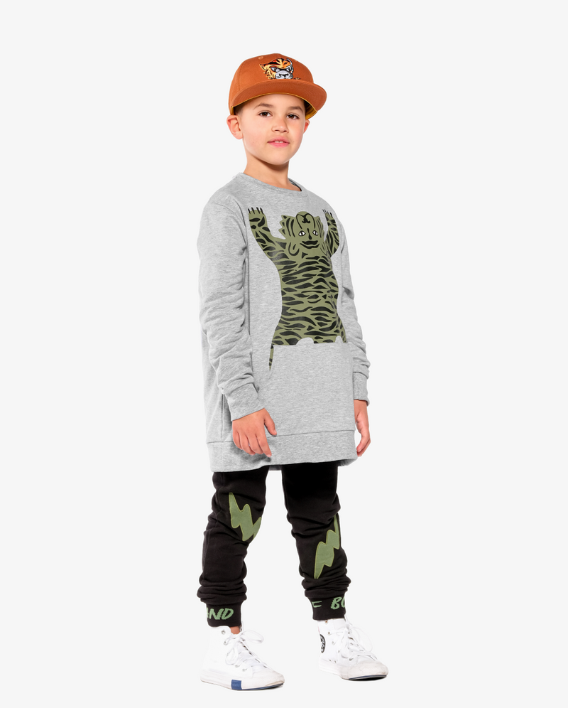 Band of Boys Double Lightning Pocket Skinny Trackies - Model also wears easy tiger pocket classic crew and eye of the tiger ochre cap