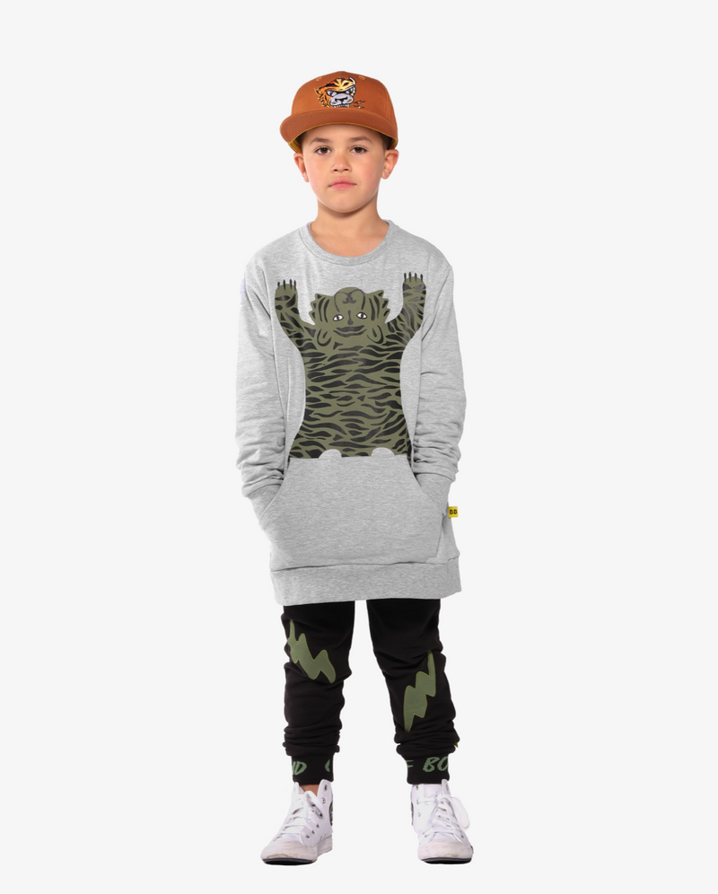 Band of Boys Double Lightning Pocket Skinny Trackies - Model also wears easy tiger pocket classic crew and eye of the tiger ochre cap - front view