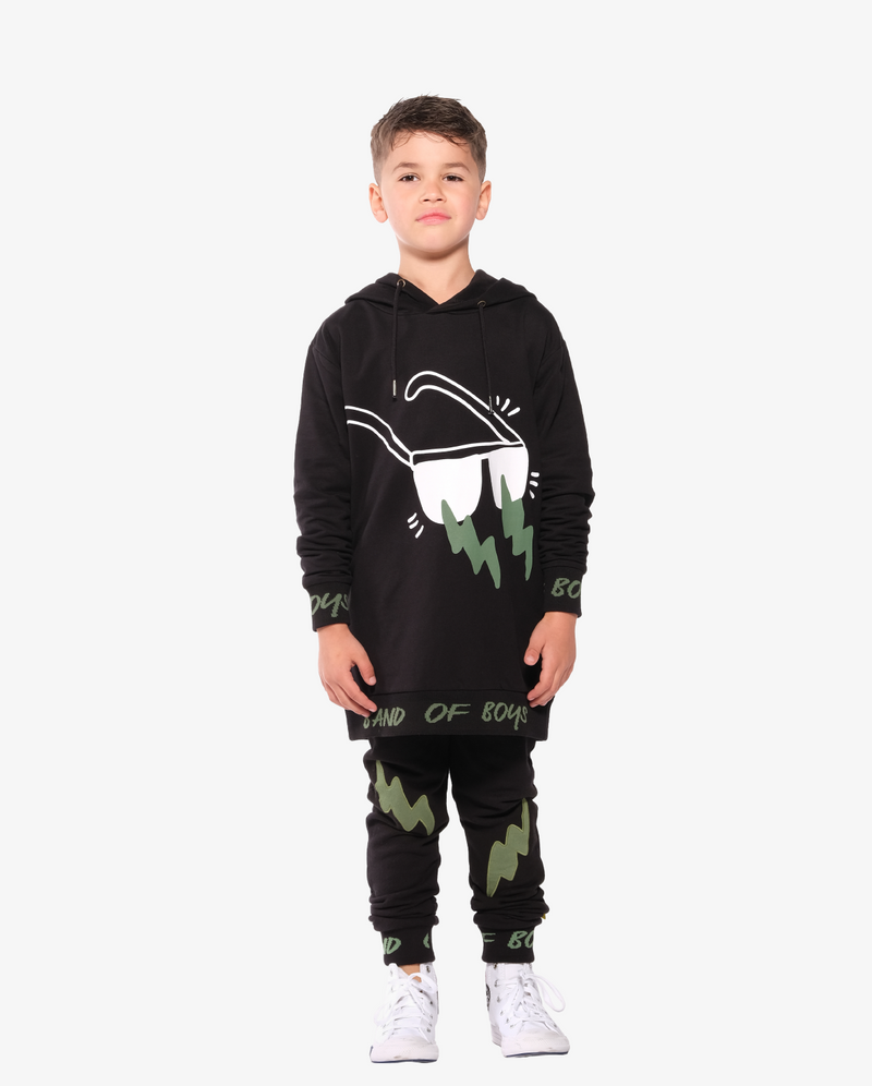 Band of Boys Double Lightning Pocket Skinny Trackies - Model also wears matching Lightning sunnies long hood crew