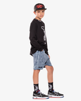 Black Band of Boys Crouching Tiger Skate Socks from The Collectibles range. View on model.