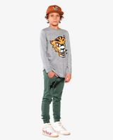 Marle Grey Band of Boys Eye of The Tiger Straight Hem Tee on model side view to show fit.