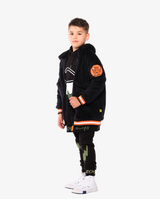 Band of Boys Double Lightning Pocket Skinny Trackies - Model also wears matching Lightning sunnies long hood crew and Navy fluffy jacket