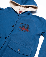 Bandits by Band of boys Lightning Tiger Bomber Jacket with faux fur lined hood. View of the front of the jacket showing quality buttons, jacket material and faux fur hood.
