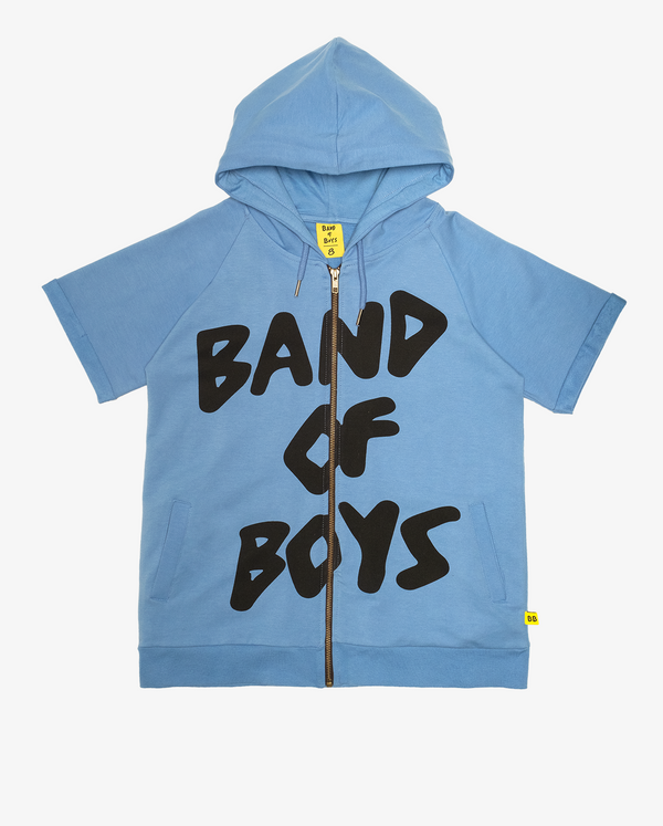 Logo short sleeve hood - Bright cornflower blue short sleeve hooded sweatshirt with zip up front and large black 'band of boys' text logo on the front.