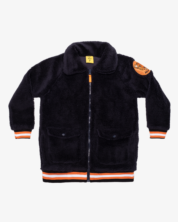 Dark Navy Band of Boys Bomber Jacket with super soft faux fur fabric and YKK zip.