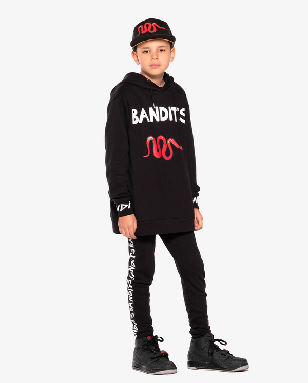 Bandits by band of boys A-Line black Hood Crew with Red Viper on model, model also wears Viper Cap and Tape Trackies