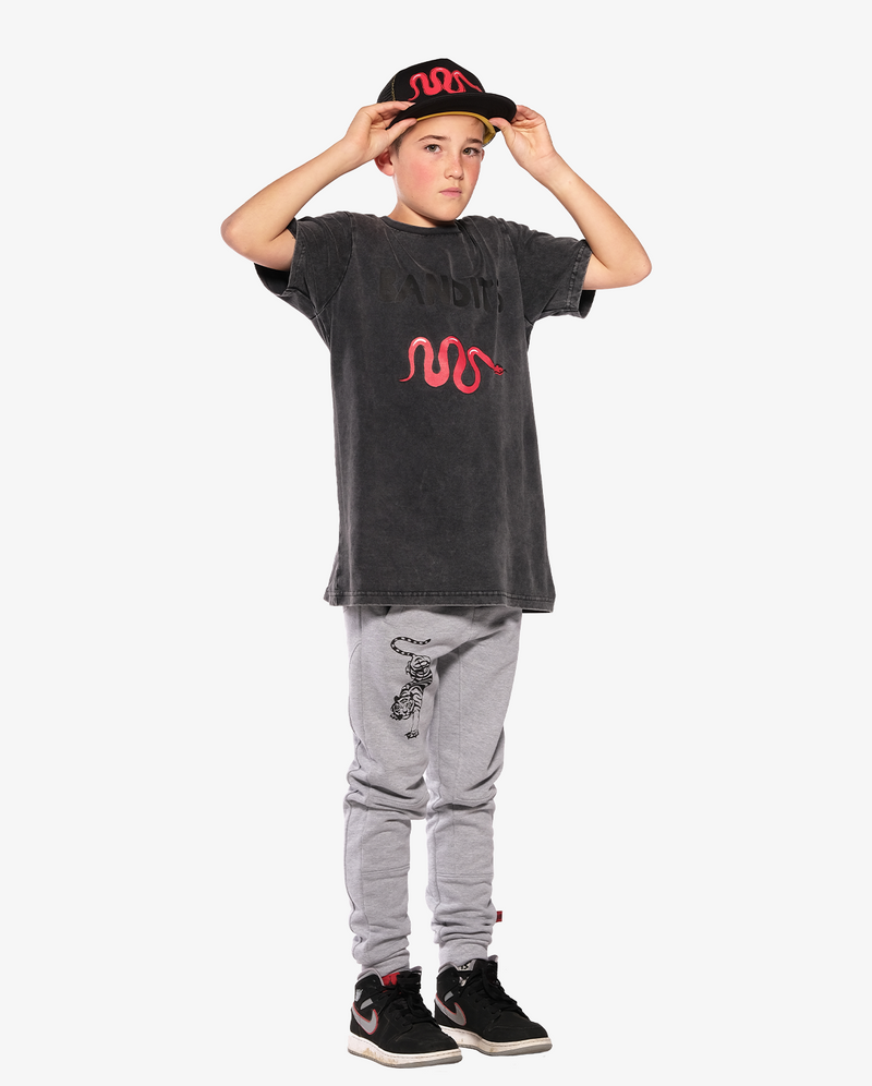 Bandits by Band of Boys Vintage Red Viper Shortsleeve Tee on model. Model also wears Red Viper Cap and Crouching Tiger Trackies.
