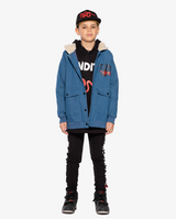 Bandits by Band of boys Lightning Tiger Bomber Jacket with faux fur lined hood on model