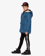 Bandits by Band of boys Lightning Tiger Bomber Jacket with faux fur lined hood on model side view