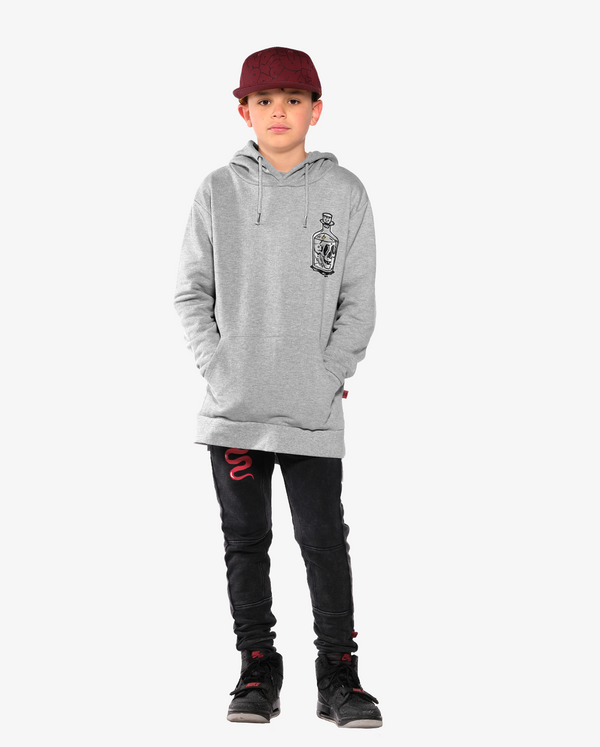 Bandits by Band of Boys Classic Hood Crew Grey Marle on model with Viper trackies