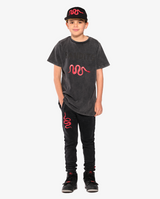 Bandits by Band of Boys Vintage Red Viper Shortsleeve Tee. Front view on model with matching black pants and cap with red viper.