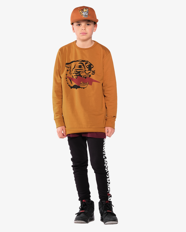 BANDITS by Band of Boys Lightning Tiger Fleece Classic Crew on model front on