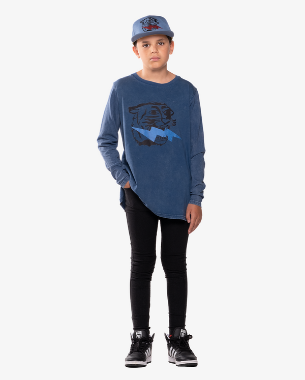 BANDITS by band of boys Long Sleeve Vintage Blue Lightning Tiger Straight Hem Tee on model - front on.
