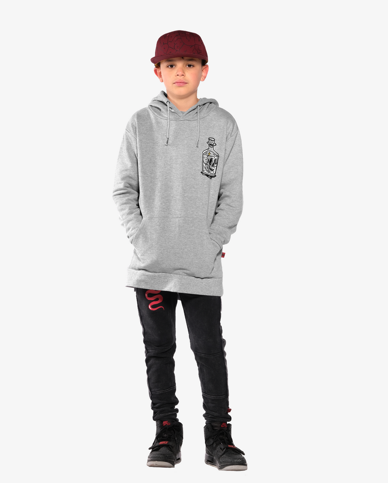 Bandits by Band of Boys Black Panel Trackies with Red Viper - Model also wears Bandits by band of boys bottle classic hood crew and Bubble logo hip hop cap